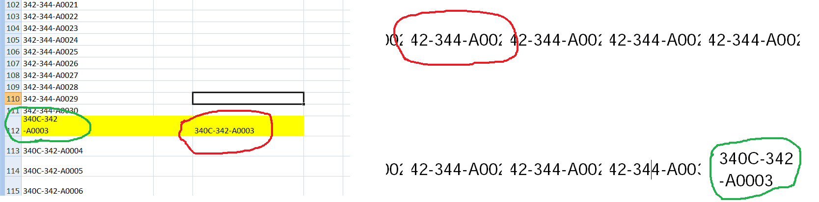 Number-too-long excel